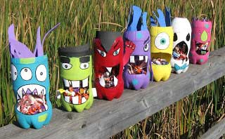 homemade monster containers - arts and crafts
