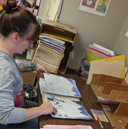 Original Work Art Reconciliation Dept. checking in a schools art packets