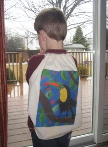 personalized totebag on child