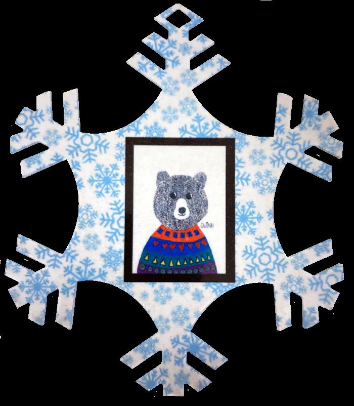 2021 bear snowflake ornament