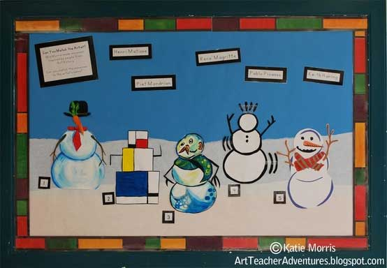 bulletin board with snowmen backdrop