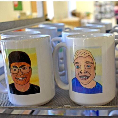 Coffee mugs personalized with students artwork
