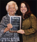 Former First Lady Barbara Bush presenting Helen with the Texas Outstanding Educator Award - April 2011