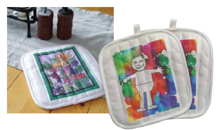 Set of 2 potholders with student art for fundraising