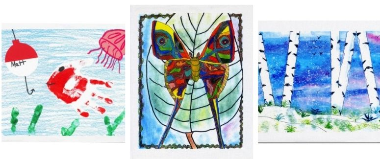 3 art quilt blocks
