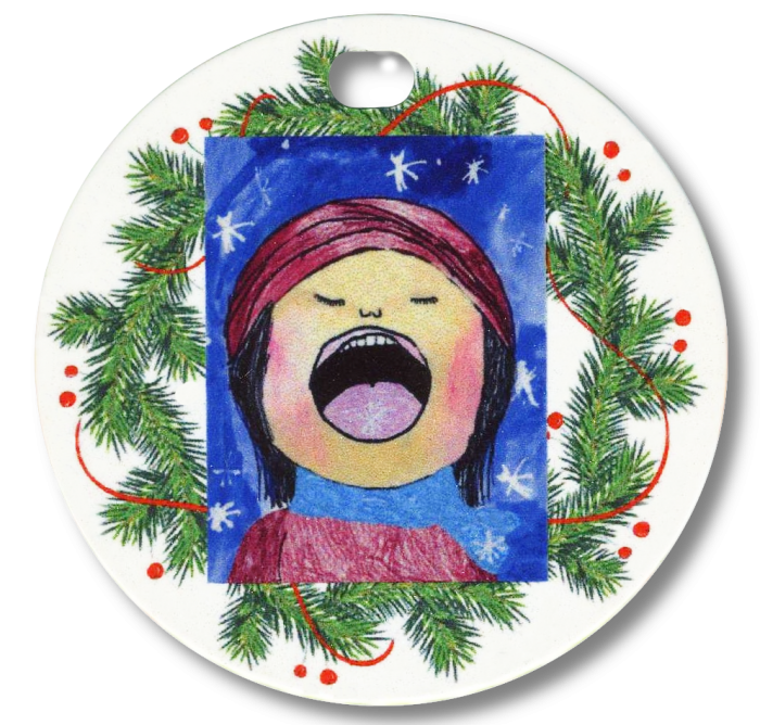 wreath ornament with kids artwork